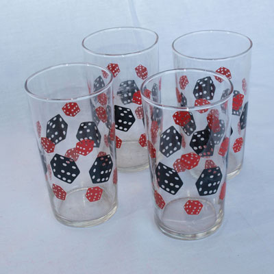 BLACK AND RED DICE TUMBLERS